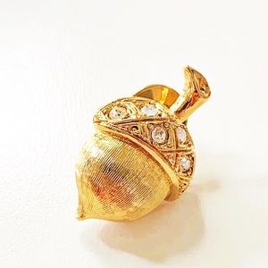 Avon Gold Tone Jeweled Acorn Pin